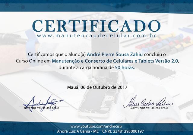Certificado Curso Conserto de Celular Andrecisp 3.0